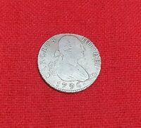 Spain 2 Reales Carolus IV (Charles IV) 1796 Sevilla Mint Spanish Silver Coin