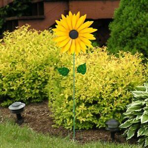 Yellow Sunflower Rotating Windmill Wind Spinner Decoration Yard Garden Ornament