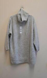 Topshop roll neck oversized knitted jumper dress in grey marl size UKS  {Z166}