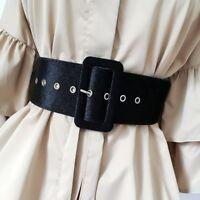Wide Belt Female Dress Belts Decorate Waistband Fashion Silver Pin Buckle Velvet