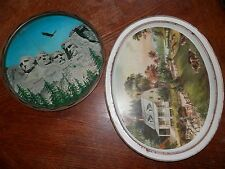 Vintage Metal Serving Trays, Currier and Ives Summer and Mt. Rushmore