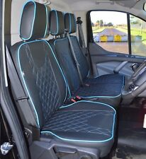 Ford Transit Custom Waterproof Tailored Seat Covers Diamond Quilting Blue Piping
