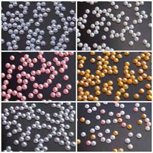 CRAFT Half Pearl 3D AB Gems 2mm - 3mm Acrylic Nail Art Decoration Embellishments