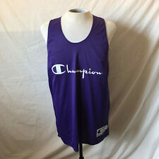 Vintage 90's Champion Spell Out Reversible Basketball Jersey Large Purple White