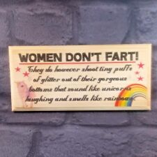 Women Dont Fart Plaque / Sign / Gift Funny Sparkly Rainbow Unicorn Toilet 80