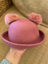 Super Cute M&S Little Girls Wool Hat With Pom Pom Ears 3-6 Years Pink
