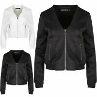 Womens Ladies Baseball Collar Long Sleeve Zip Up Quilted Padded Bomber Jacket