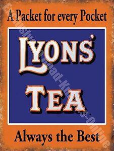 Lyons' Tea Drink Cafe Kitchen Old Vintage Shop Advertising Medium Metal Tin Sign