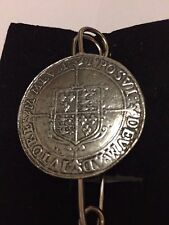 "Elizabeth I Crown Coin WC48 Scarf Brooch and Kilt Pin Pewter 3"" 7.5 cm"