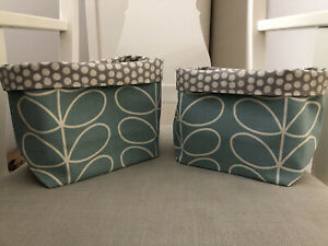 Handmade Orla Keily Duck Egg Stem Print Fabric Lined Storage Baskets Set Of 2