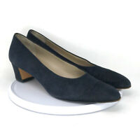 Salvatore Ferragamo Women's Suede Black Heel Pumps Block Heel Size 8.5 AAA