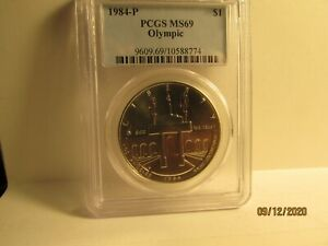 1984-P $1 OLYMPIC COMMEMORATIVE SILVER DOLLAR PCGS MS69