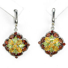 Sterling Silver 925 Genuine Natural Red Garnet, Citrine and Peridot Earrings