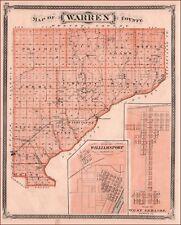 WARREN COUNTY, INDIANA, WILLIAMSPORT, WEST LEBANON, Antique Map Original 1876