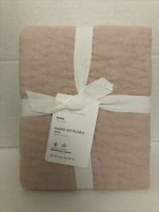 Pottery Barn Belgian Flax Linen Handcrafted Quilted Sham King Soft Rose NWT