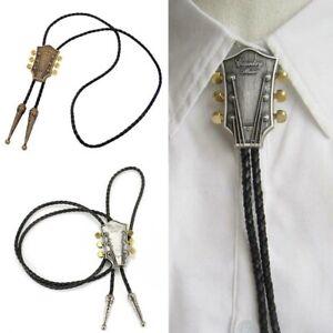 Vintage Guitar Western Cowboy PU Leather Necktie Bootlace Tie