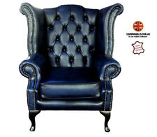 Antique Blue British Chesterfield London 100% Real Leather Queen Anne Armchair