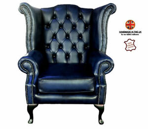 Antique Blue Chesterfield London 100% Real Leather Queen Anne Armchair