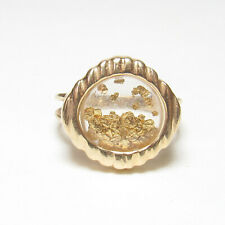 Estate 14K Yellow Gold Ring With 22K Gold Nuggets Under Glass