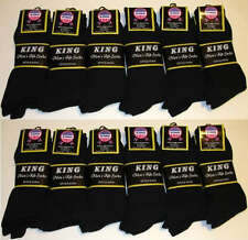 12 Pairs Mens KING Premium COTTON Ribbed Dress Socks 10-13 All Black #1416