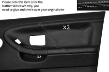 GREY STITCH 2X FRONT DOOR CARD LEATHER COVERS FITS BMW E36 SALOON SEDAN 91-98