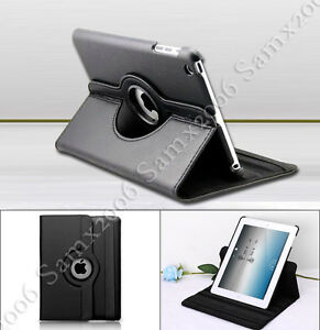 360 Rotating Leather Smart Cover Case Swivel Stand for Apple iPad Mini - Black