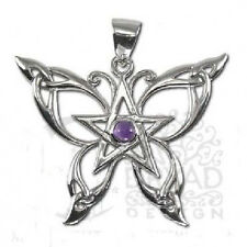 Dryad Butterfly Pentacle Pendant  with Amethyst  Silver by Paul Borda