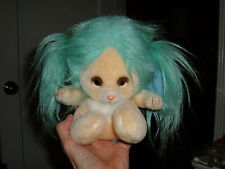 "Mattel Emotions 1983 Stuffed Animal Turquoise Teal Blue Long Hair 7"" Korea RARE"