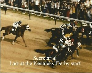 """1973 - SECRETARIAT - Last at the start of the Kentucky Derby - Color - 10"""" x 8"""""""