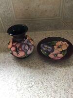 "William Moorcroft Bud Vase & Matching 4 1/2"" Plate PANSEY Design"
