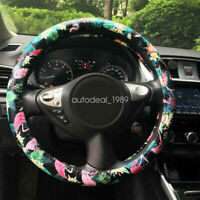 """Universal Fit  Flamingo Print PU Leather Car Truck Steering Wheel Cover 15"""" 38cm"""