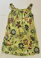MADE IN ITALY Cotton 2 Pockets Short Floral Summer Dress Lime Green ONE SIZE