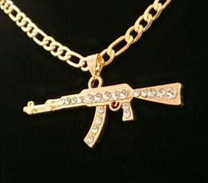 Ak Gun pistola pendant necklace figaro chain 14k gold plated zirconia cuban link