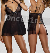 Lingerie Babydoll Lace Open Cup Deep V Chemise Gown Dress G-string Set