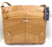Ladies Tan Leather Handbags with Multiple Zip Pockets Soft Leather Travel Bag