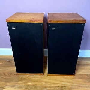 B&W DM4 Speakers, Matched Pair, Mid-Century Hifi Audiophile Bi-Wiring 1973 70s