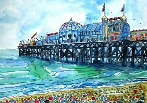 Authentic Ink and Watercolour Painting of Brighton Pier by Ann Marie Whitton