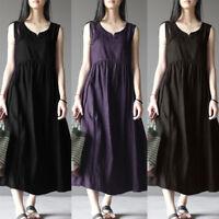 ZANZEA 8-24 Women Sleeveless Long Maxi Sundress Kaftan A-Line Plus Size Dress