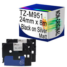 2 Compatible Matt Label Tape For Brother TZ-M951 24mm x 8m Black on Silver