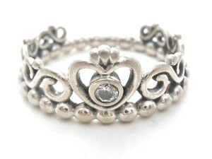 Pandora Sterling Silver Beaded Crown Ring Size 6 Clear Cubic Zirconia ALE