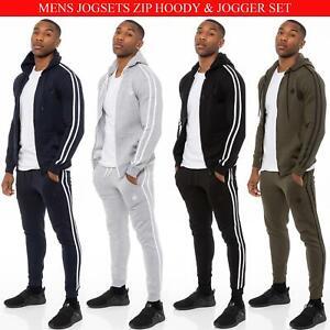 Enzo Mens Full Tracksuit Set Zip Up Hooded Jacket Hoodie Jogger Jogging Bottoms