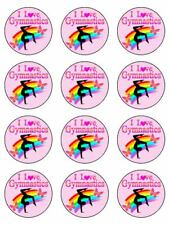 """Gymnastics 12 x 2"""" Round Edible Icing, Cup Cake Toppers"""
