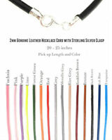 3mm Genuine Leather Necklace Cord with Sterling Silver Clasp 20-25 inches