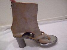 Peachoo + Krejberg leather open toe ankle boot heels metallic fabric SZ 37/7/6.5