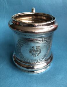 Uralter Teeglas-Halter & Glas, Echt-Silber geprüft, graviert, Adel, Wappen ~1870