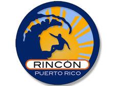 4x4 inch Round Surfer On Wave RINCON Puerto Rico Sticker  - surfing i surf retro