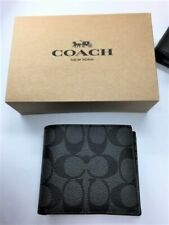 ORIGINAL COACH Men's Compact Bifold Wallet F74993 Black Signature Coated Canvas