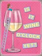 Wine O'Clock? Pink and Girly Retro Funny Humour Kitchen Small Metal/Tin Sign