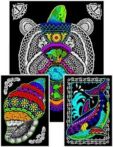 Geo Turtle - Large 23x20 Inch Fuzzy Velvet Coloring Poster