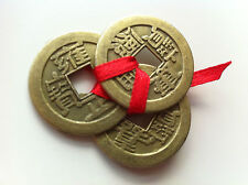 New Set of 3 Tied with Red Ribbon Feng Shui Chinese Lucky Coins Wealth Coins